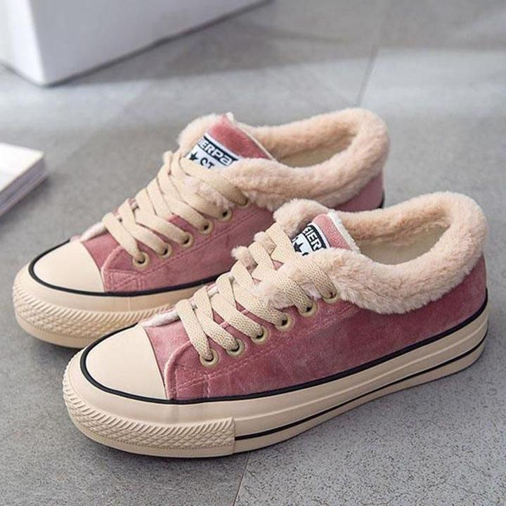 Womens Canvas Snow Sneakers Fur Lined