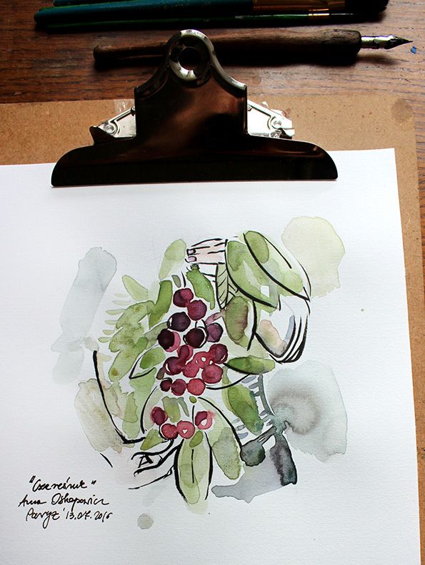 In The Garden, illustration, Anna Ostapowicz, #watercolour, #drawing, #summer, #lifestyle, #nature, #garden, #illustration, #fruits, #art, #bookillustration, #vegetables,