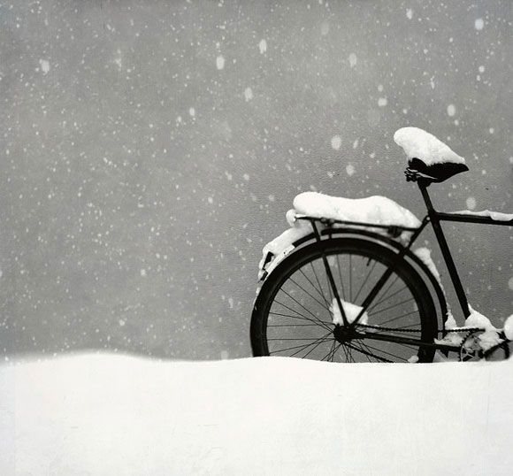 Black and White Bike and Snow