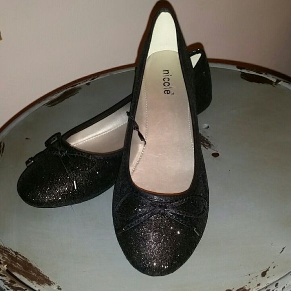 """Price Drop Black Sparkle Flats Black shimmery """"Lennon"""" flat with understated bow detail  nicole Shoes Flats & Loafers"""