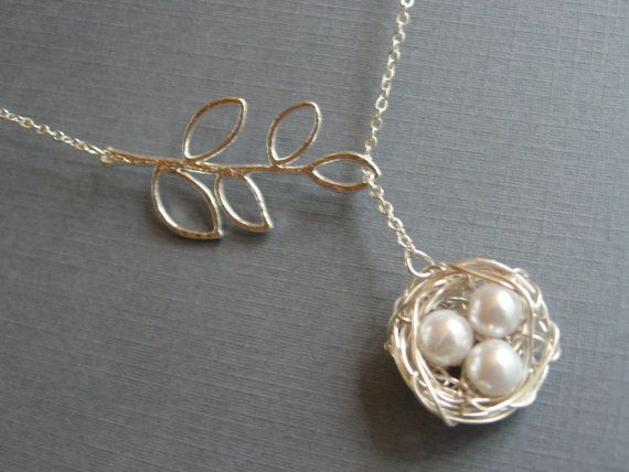 Mothers Day Necklace, Silver Bird Nest Necklace, Silver Lariat Branch Necklace on Etsy, $23.58 AUD