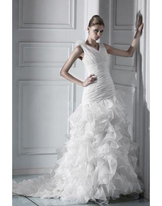 Robe de mariée de luxe Sirène encolure en V à traîne Chapel ruchée grande taille