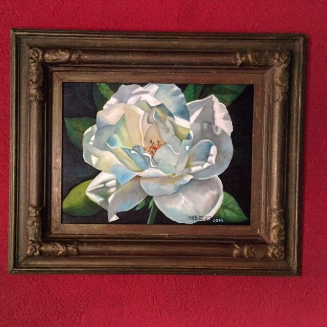 Óleo terminado flor blanca30x40