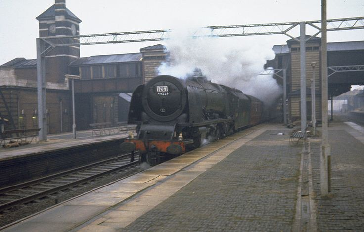 46239 'City of Chester'. Coronation Class 4-6-2 at Harrow and Wealdstone, working an Aintree Race Special on the down slow as the fast lines were closed for electrification work, 21 March 1964. Photo by Barry Austin