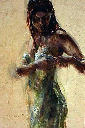Vrouw in groene jurk; Sam Drukker
