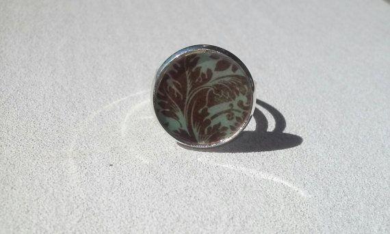 Blue Vintage Pattern Adjustable Ring