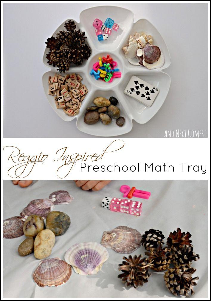 Reggio-inspired preschool math tray from And Next Comes L