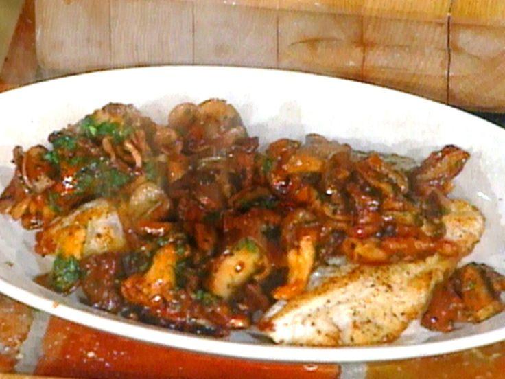 Baked Grouper with Wild Mushrooms: Grouper al Forno con Funghi Trifolati recipe from Mario Batali via Food Network