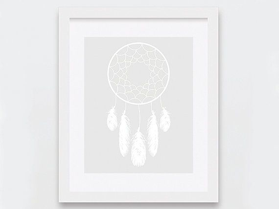 White Dreamcatcher Wall Art Modern Dream by nomadprintables