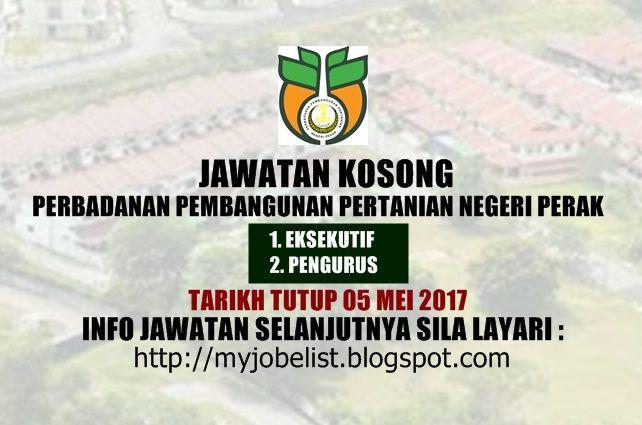 Jawatan Kosong Terkini di PPPNP - 05 Mei 2017  Jawatan kosong kerajaan terkini di Pembangunan Perbadanan Pertanian Negeri Perak (PPPNP) Mei 2017 | Jawatan kosong terkini di Pembangunan Perbadanan Pertanian Negeri Perak (PPPNP) Mei 2017. Permohonan adalah dipelawa daripada warganegara Malaysia yang berkelayakan untuk mengisi kekosongan jawatan kosong terkini di Pembangunan Perbadanan Pertanian Negeri Perak (PPPNP) sebagai :1. EKSEKUTIF2. PENGURUS Tarikh tutup permohonan 05 Mei 2017 Lokasi…