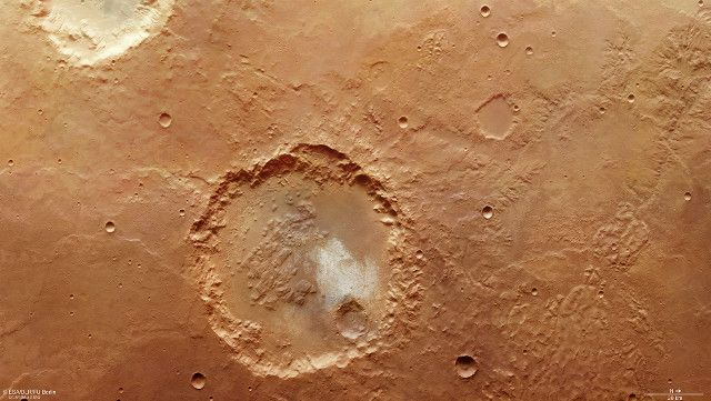 ESA has released new images of a crater with a diameter of about 70 kilometers in the region of the planet Mars called Margaritifer Terra. This is a composite of two images captured by the Mars Express Space space probe's High Resolution Stereo Camera (HRSC) instrument almost exactly 10 years away in March 2007 and February 2017. The crater and the surrounding area show yet again evidence of the presence of liquid water in Mars' distant past. Read the details in the article!