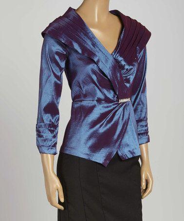 This Purple Satin Wrap Top - Women & Plus by madam x is perfect! #zulilyfinds