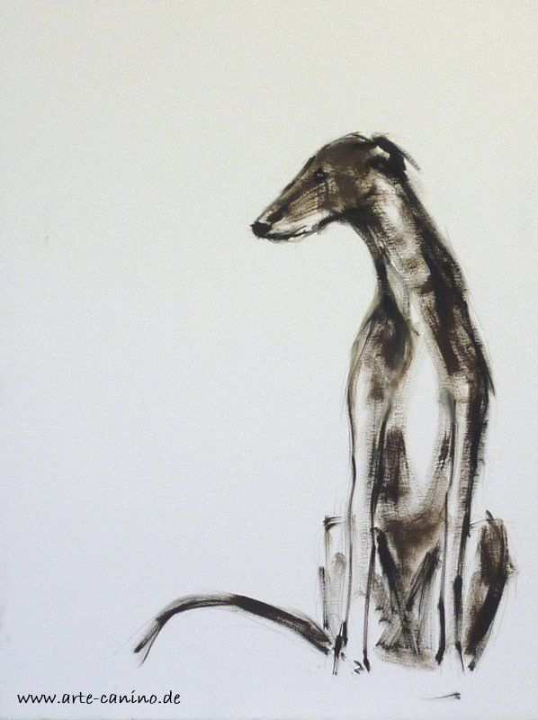 Galgo, Spanish Greyhound, oil on paper, 30 x 40 cm