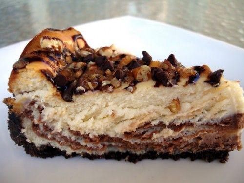 Turtle Cheesecake Chocolate Caramel -regular graham cracker crust is fine -more chocolate