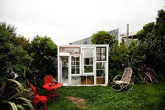 Glass house out of old windows