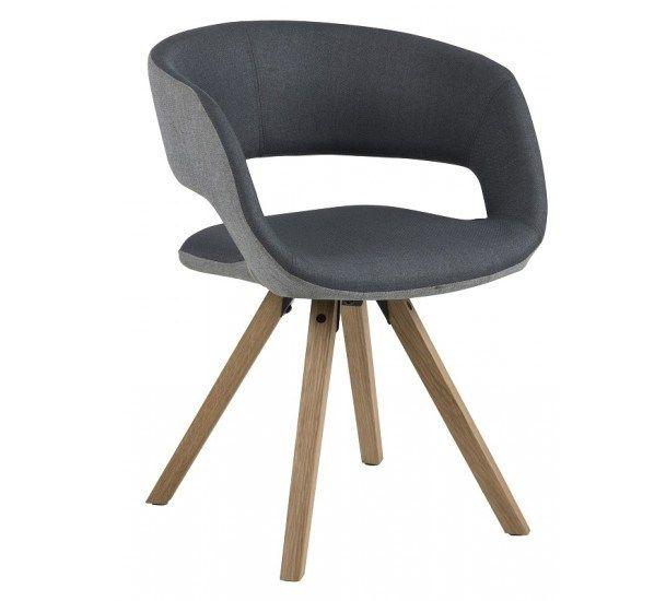 Kline Spisebordsstol - Mørkegrå - Spisebordsstol med eiktræsben