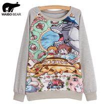 Mulheres camisola Totoro impresso camisola das mulheres terno do esporte roupas de primavera e outono de mulheres Sudaderas(China (Mainland))