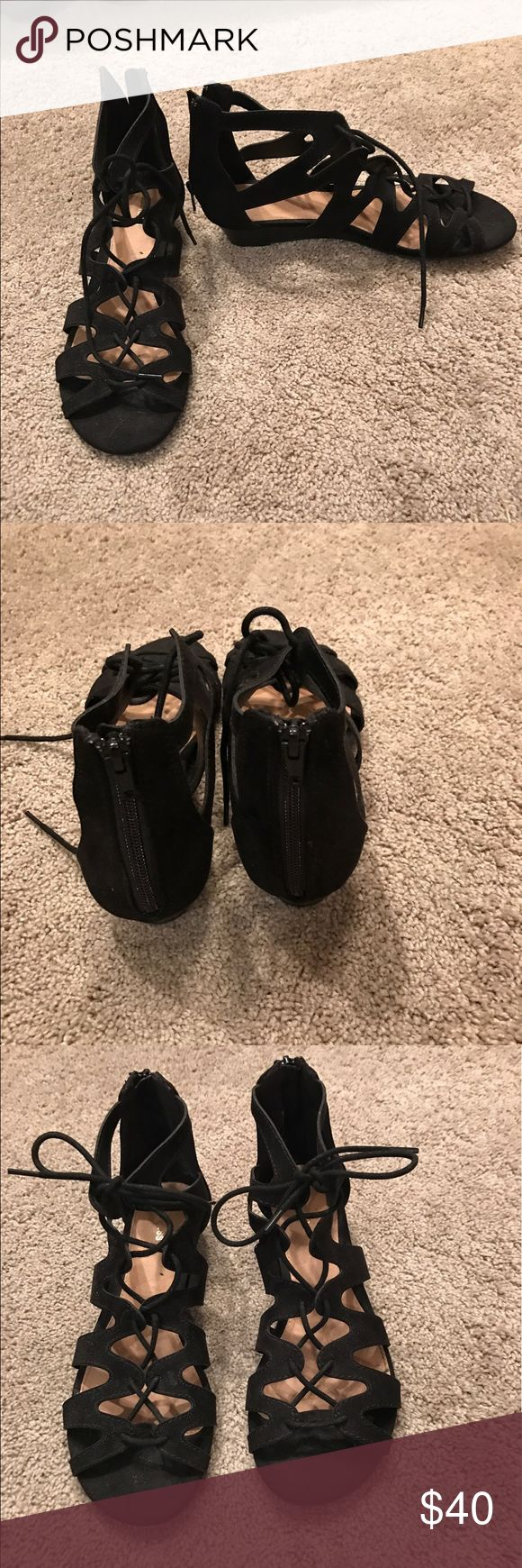 Express suede gladiator flats In excellent condition worn twice! Express Shoes Sandals