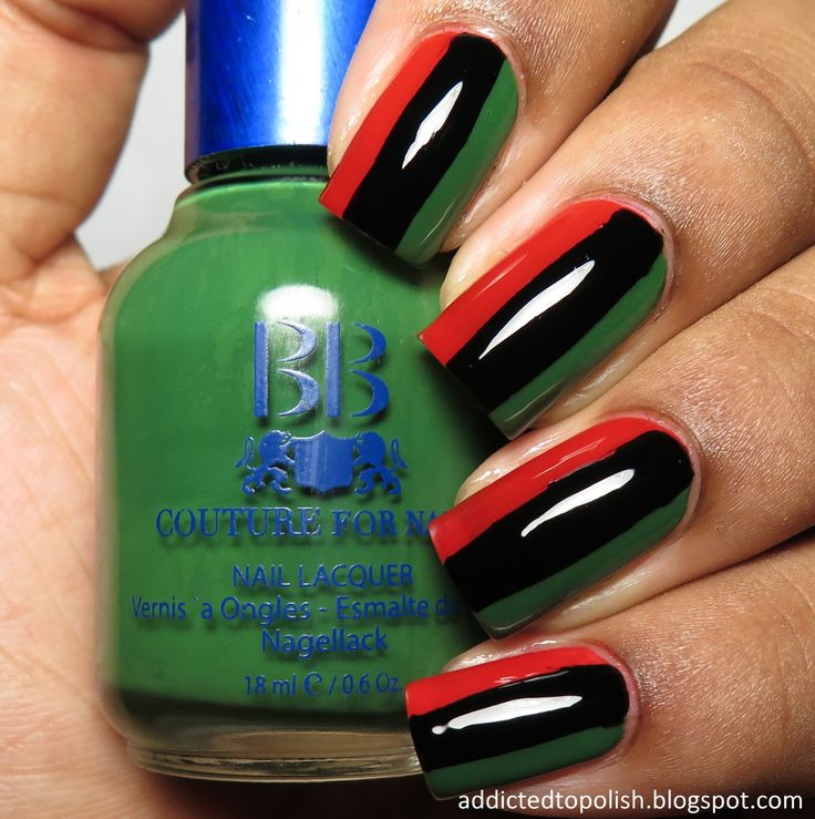 Pan African Flag Nails | Addicted to Polish