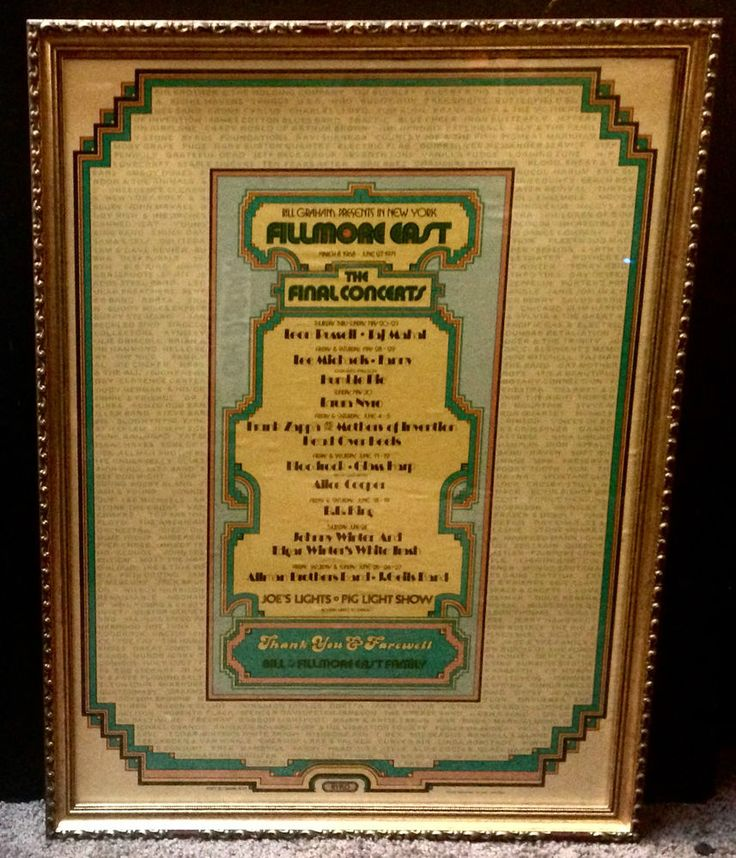 Fillmore East final concerts poster 1971 Duane Allman Brothers Zappa J Geils