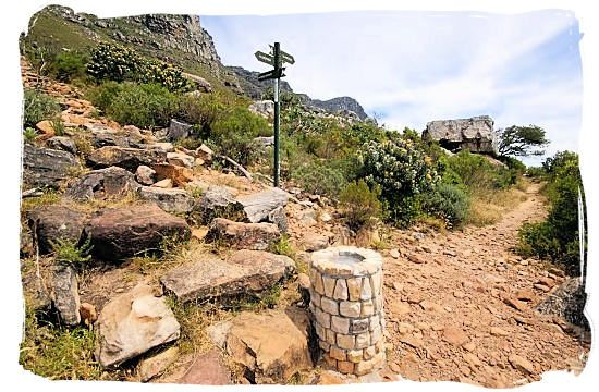 Crossing of hiking trails, the start of Kasteelpoort, Kloofnek and Slangolie trails - Activity Attractions in Cape Town South Africa and the Cape Peninsula