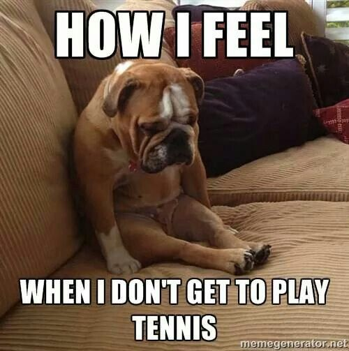 This was me today. Practice got canceled cause it rained last night and the courts were flooded.