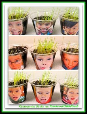 This would be a great activity for Kindergartners to do while learning about plants. They could water their plants each day and see them grow. Plus, it looks like they are growing hair on top of their heads, too cute!