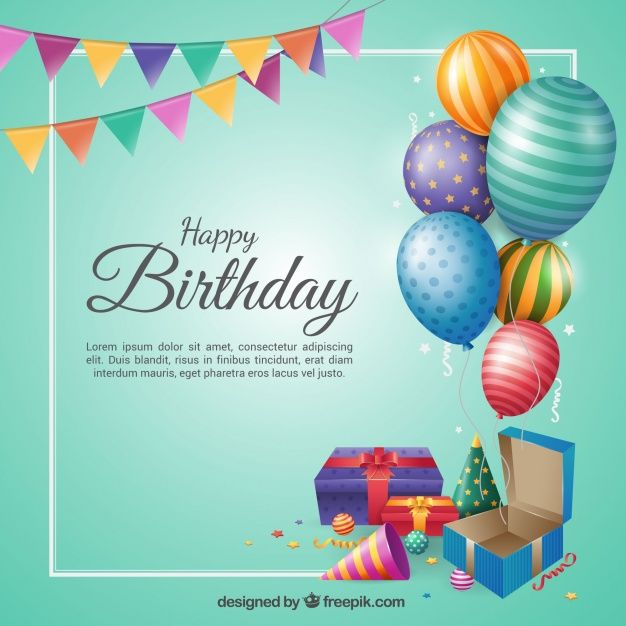 Birthday Background In Flat Design Free Vector Birthday Card With Name Birthday Cards Images Birthday Wishes Greetings