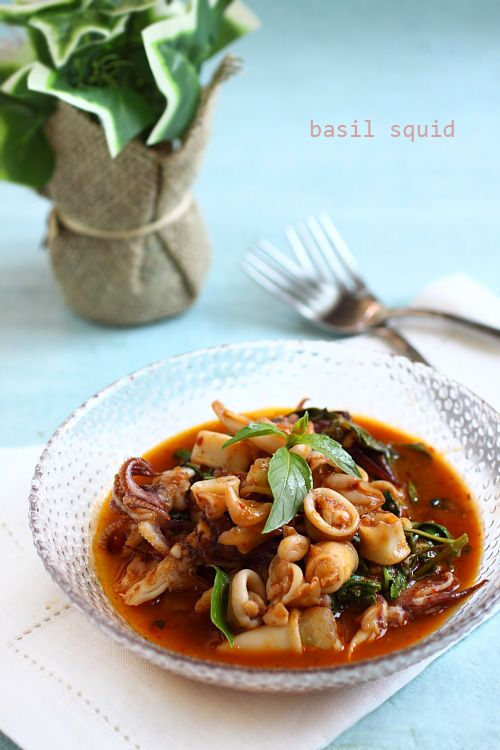Thai Basil Squid - flavored with dollops of Thai roasted chili paste and heaps of fresh Thai basil leaves - and more! Click to see full recipe!