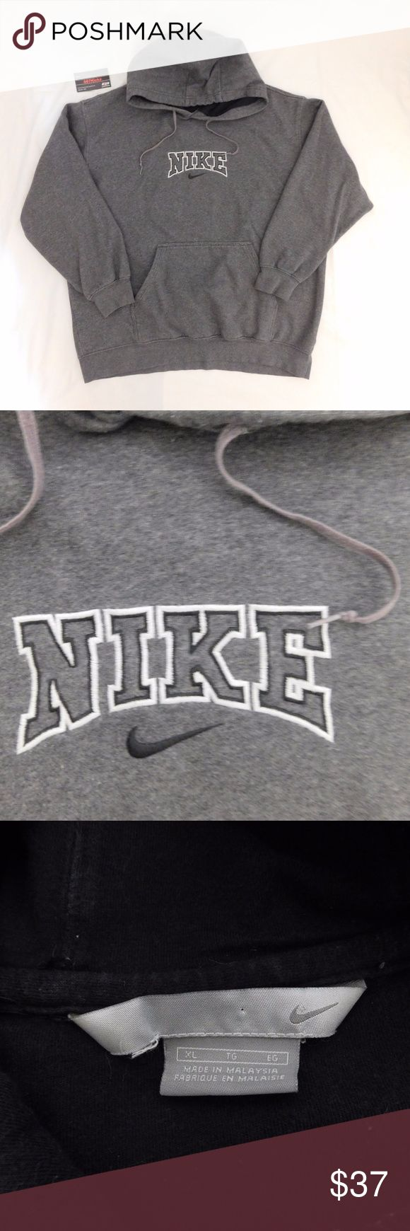 Embroidered Nike Logo Gray Hoodie USED Vintage Nike Embroidered Spellout Swoosh Logo Gray Hooded Sweatshirt | MENS Size XL | Good condition, minor fading  For Discounts Follow Me on Instagram @407vintage !  KEYWORDS/TAGS: ultra boost , Tommy Hilfiger , Polo Sport , Nautica , NMD , supreme , kith , bred , adidas , banned , french blue , stussy , Maestro , vintage , kaws , solefly , trophy room , box logo , gamma blue , retro jordan , steal , foams , foamposite , rare , nike air , yeezy boost…