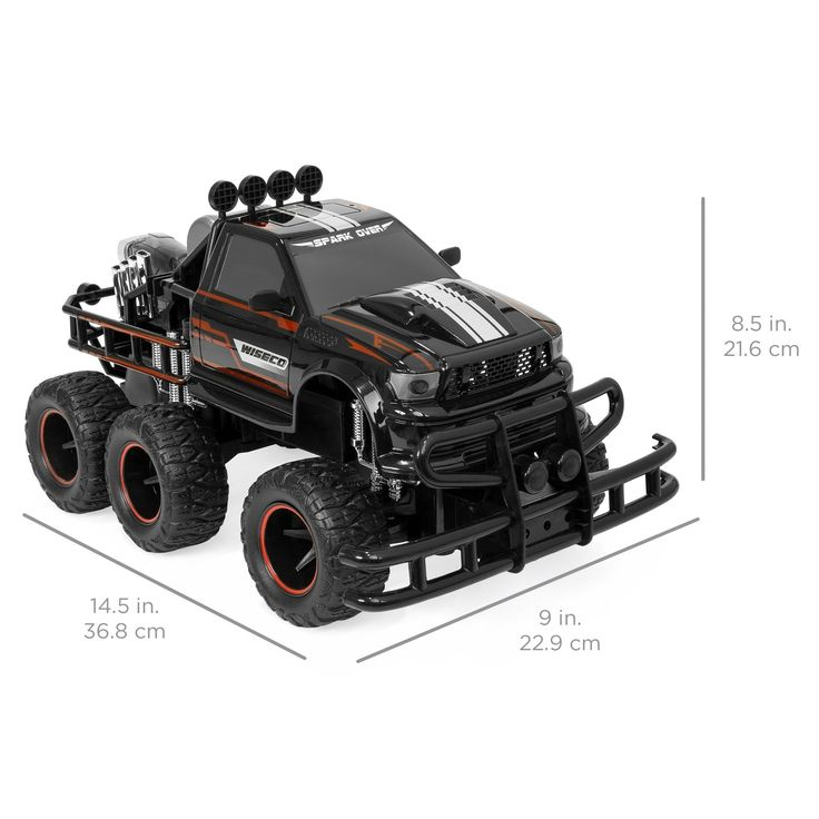 1:12 Remote Control Off-Road Racing Monster Truck w/ Headlights, Dual Rear Wheels - Black