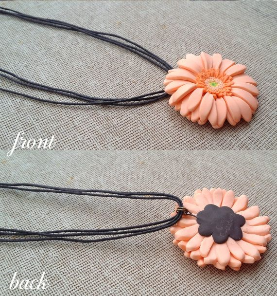 Peach Gerbera Daisy Necklace Polymer Clay by EvasCreationsShop
