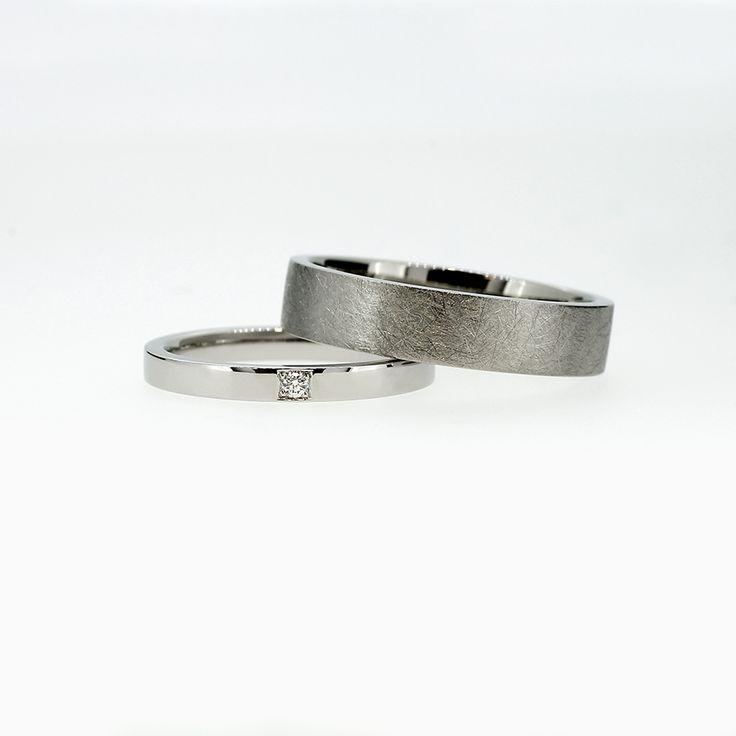 Carré Wedding Ring Set in Palladium