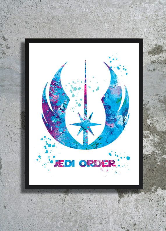 Jedi order watercolor print Jedi poster Star Wars print Jedi symbol art Jedi…
