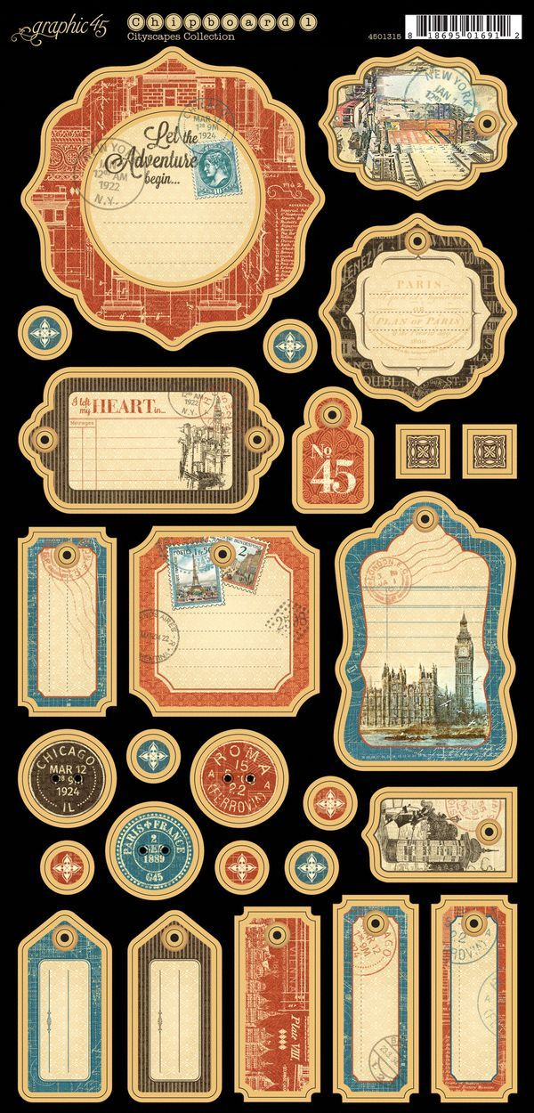 Cityscapes Journaling Chipboard #sneakpeeks #graphic45