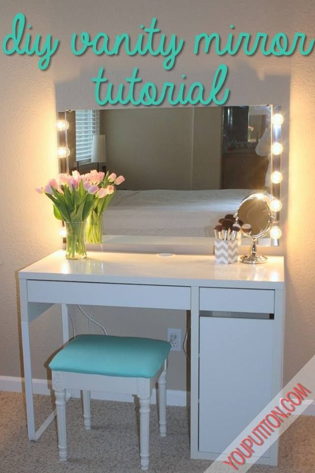 For this, you need a plain mirror and two sets of muslin wall lamps. Attach the mirror to the wall and fix the lamps on the side.