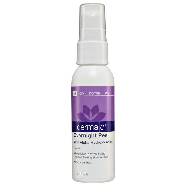 $18 Derma E Overnight Peel with Alpha Hydroxy Acids is a skin-brightening, non-abrasive blend of alpha hydroxy acids that exfoliates overnight and visibly retexturizes. For mild marks