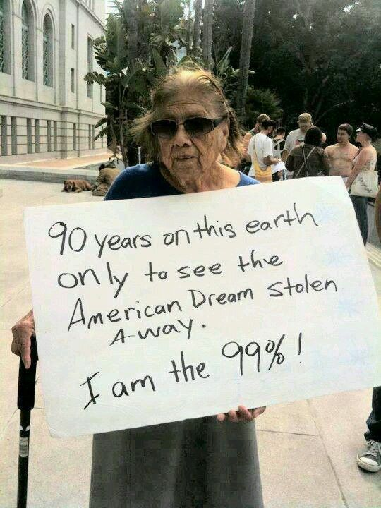 This woman believes she once lived the American Dream, only for it to be taken away. If Americans can't hold onto their goals through changing times, how can all citizens expect the American Dream? It's possible for some, but the social boundaries and economic recession inhibits growth towards the complete American Dream.