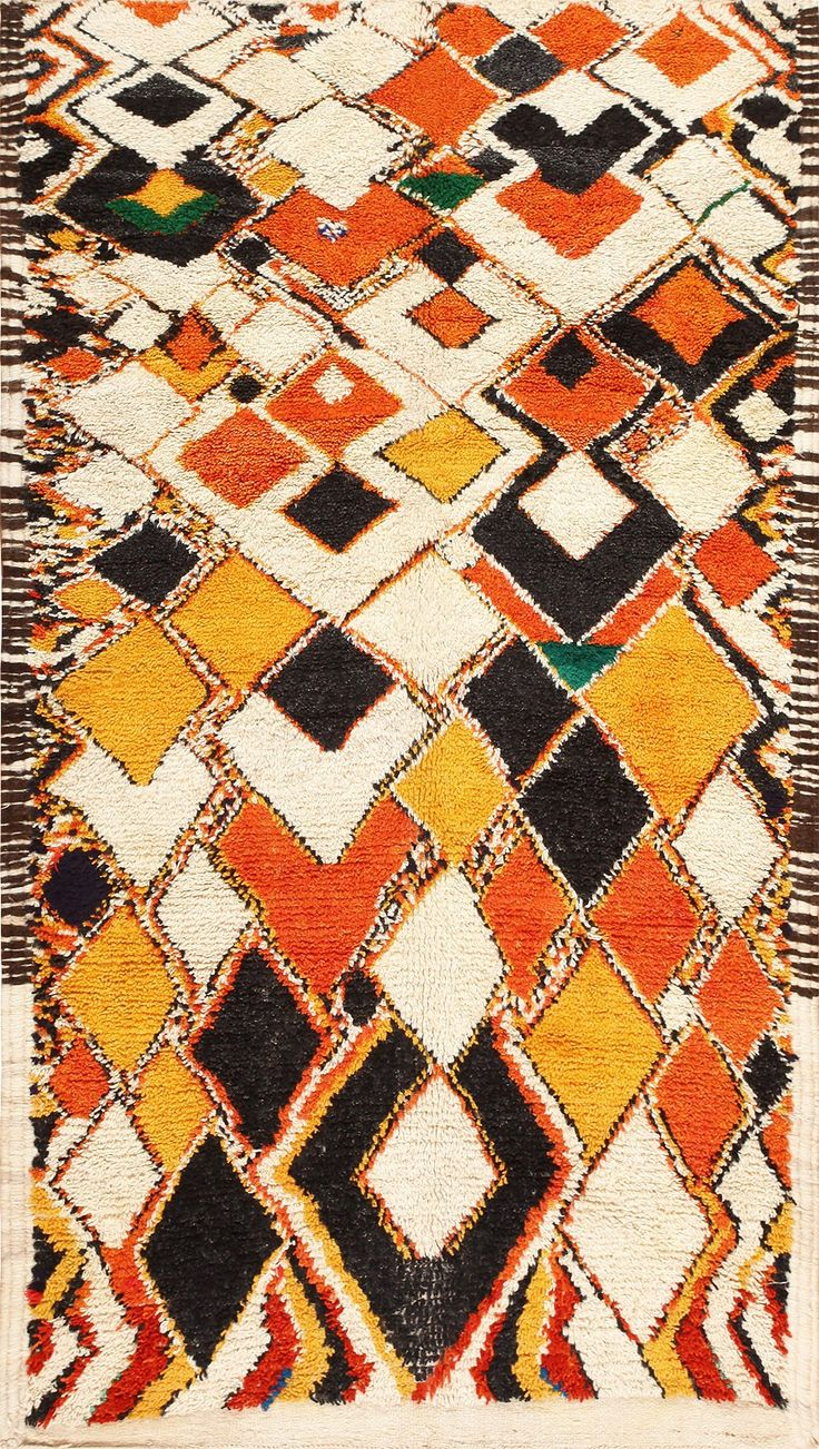 Colorful and Primitive Vintage Moroccan Rug 47936