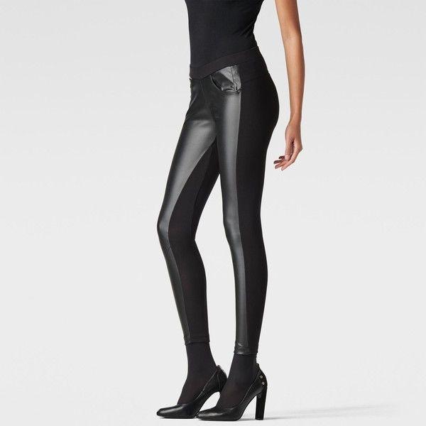 G-Star Raw Us Arc Legging ($130) found on Polyvore featuring pants, leggings, black, slimming leggings, leather leggings, leather pants, black skinny pants and skinny leggings