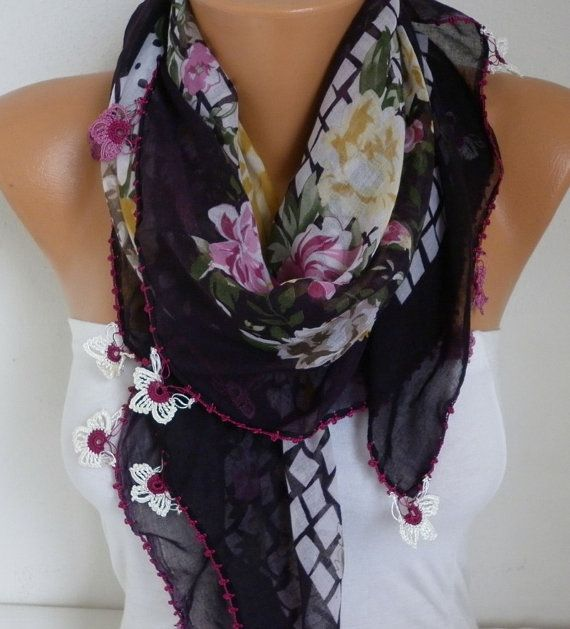 Spring Turkish Floral Scarf Mother's Day Gift Cotton by fatwoman