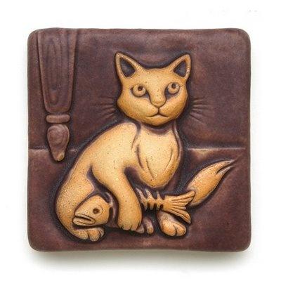 kitten with fish,Gretchen Kramp Pewabic tile. A gift from a dear friend!