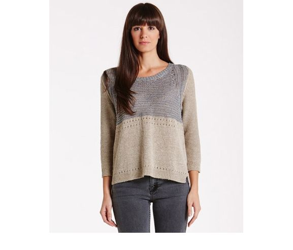 NEEDLE BOUTIQUE - Multi stitch knitted top. Made in Italy.