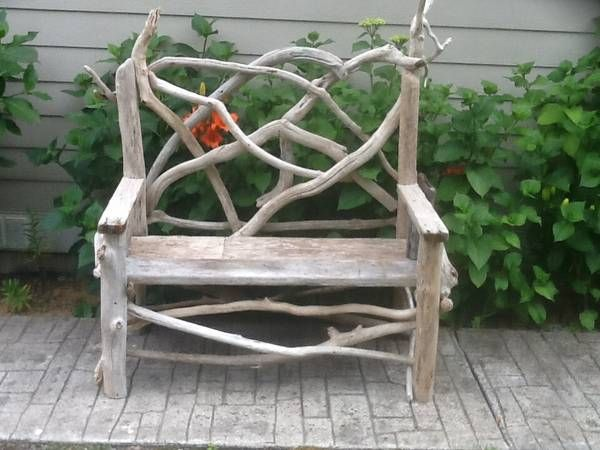 Very cute driftwood bench for your garden or entryway.