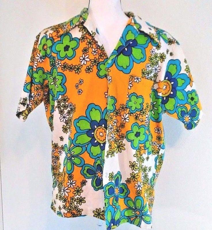 Pennys Hawaii Shirt Mens 1960s Size Small Floral Print Vintage Barkcloth | Clothing, Shoes & Accessories, Vintage, Men's Vintage Clothing | eBay!