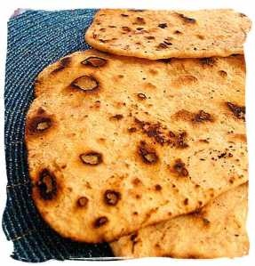Indian Chapti Bread - so easy and so good! Just flour, oil and water. I add finely chopped onions and garlic and eat with curry or humous. This baby loves his carbs!!