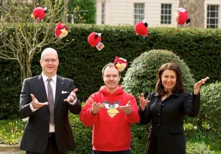 Angry Birds: [L-R] Sales and Marketing Director at Lappset Group, Johan Granholm, Rovio's Mighty Eagle Peter Vesterbacka, and Chairman of Lappset Group, Johanna Ikäheimo, celebrate the announcement.