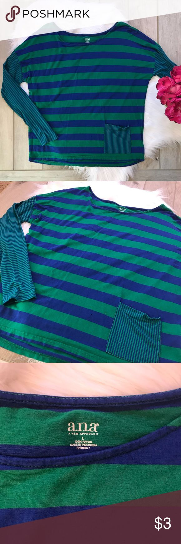 FREE {•Striped T-Shirt•} Adorable Kelly green and cobalt blue striped shirt. Long sleeves. Has a slouchy loose fit. Small pocket on the front. Free with any purchase. Hanger caught the top in my closet and left two tiny holes in the top! I have worn this and washed it several times since that happened and holes have not gotten bigger- noted in photos. Want this? Just purchase something from my closet and message me that you want this and I'll toss it in for free! a.n.a Tops Tees - Long…
