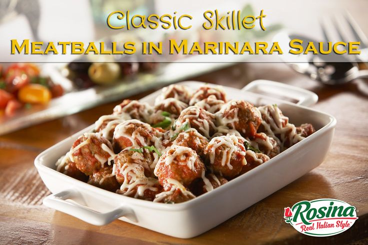 Classic meatballs in marinara sauce quick and easy Skillet Meatballs in Marinara Sauce   Servings: 6    1 Bag of Italian Village Beef Meatballs 1 Jar of Marinara Sauce 1 cup of Shredded Mozzarella Cheese Directions  Heat a large cast iron skillet over medium heat, and spray it generously with cooking spray. Place the meatballs in the skillet and brown them for 2 minutes on each side.  Pour in the marinara sauce evenly into the skillet and turn the heat down to medium low.  Cover the skillet…