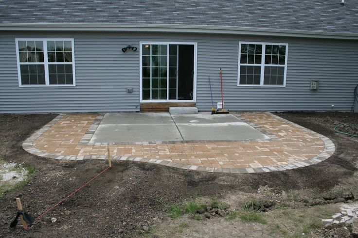 Diy extending concrete patio with pavers paver patio for Patio extension designs